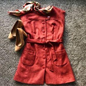 Anthropologie Tabitha Orange Tweed Dress - Size 12